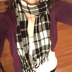 Accessories - Black and white plaid scarf with fringe.